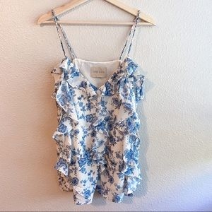 Moon River White Blue Floral Top